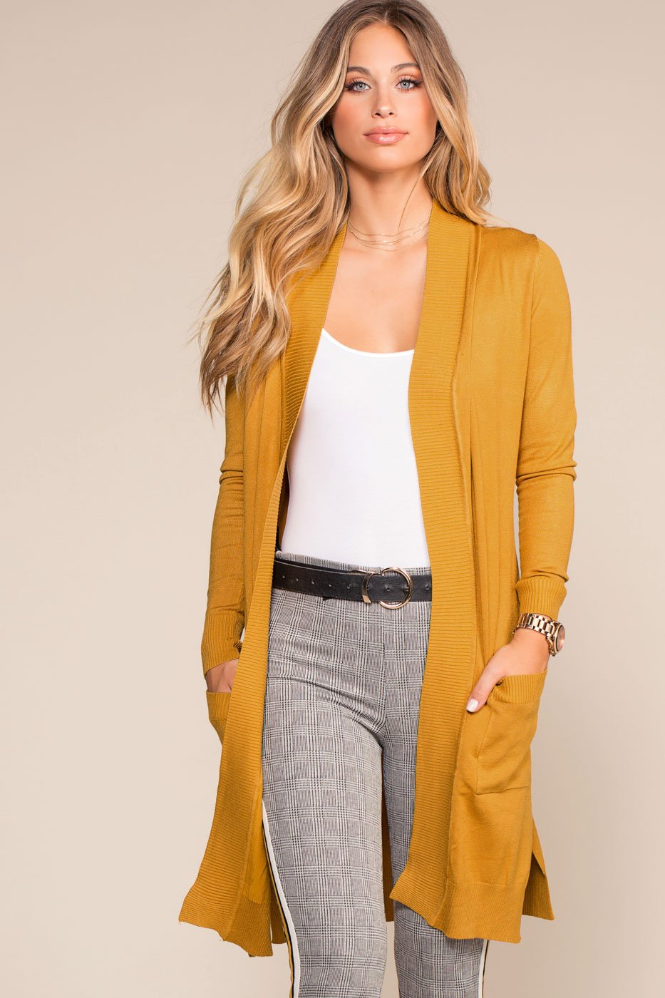Cardigans - Kokette Long Cardigan Sweater - Mustard