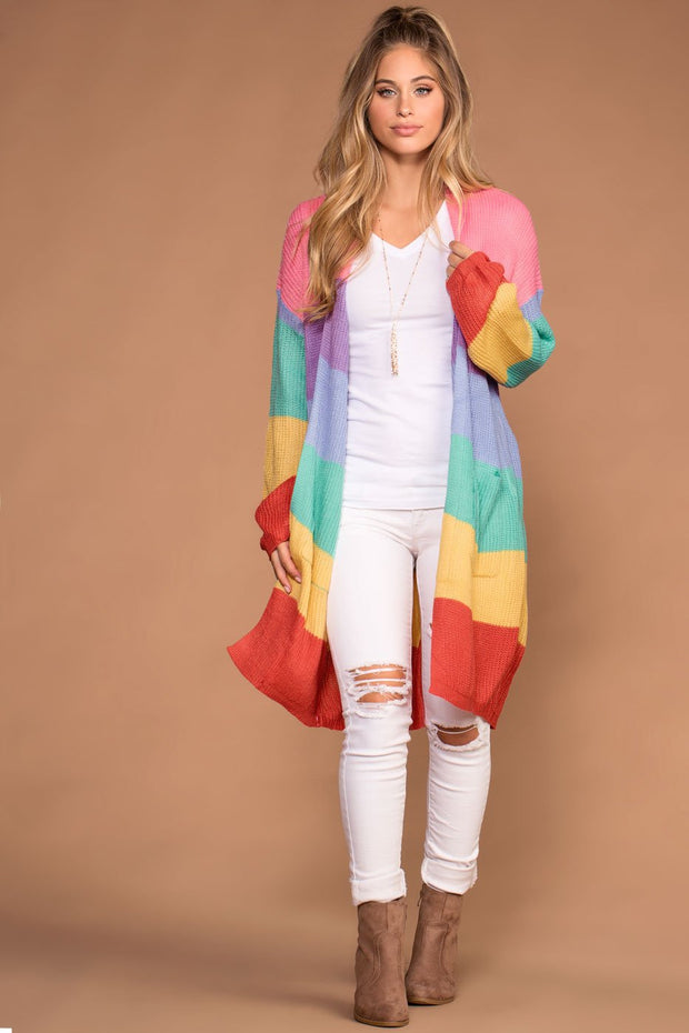 Cardigans - Main Event Stripe Sweater Cardigan