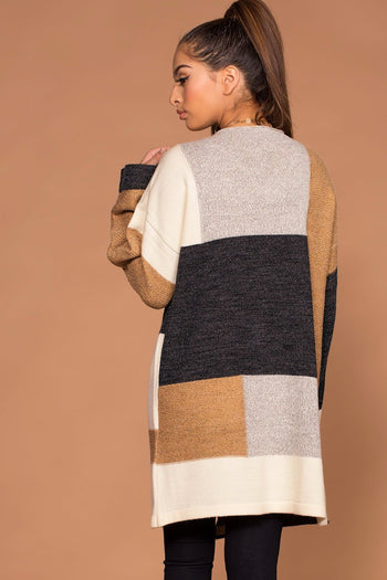 Cardigans - Perfect All Day Block Sweater Cardigan