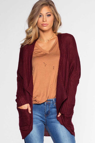 Karina Burgundy Color Block Pocket Sweater Top