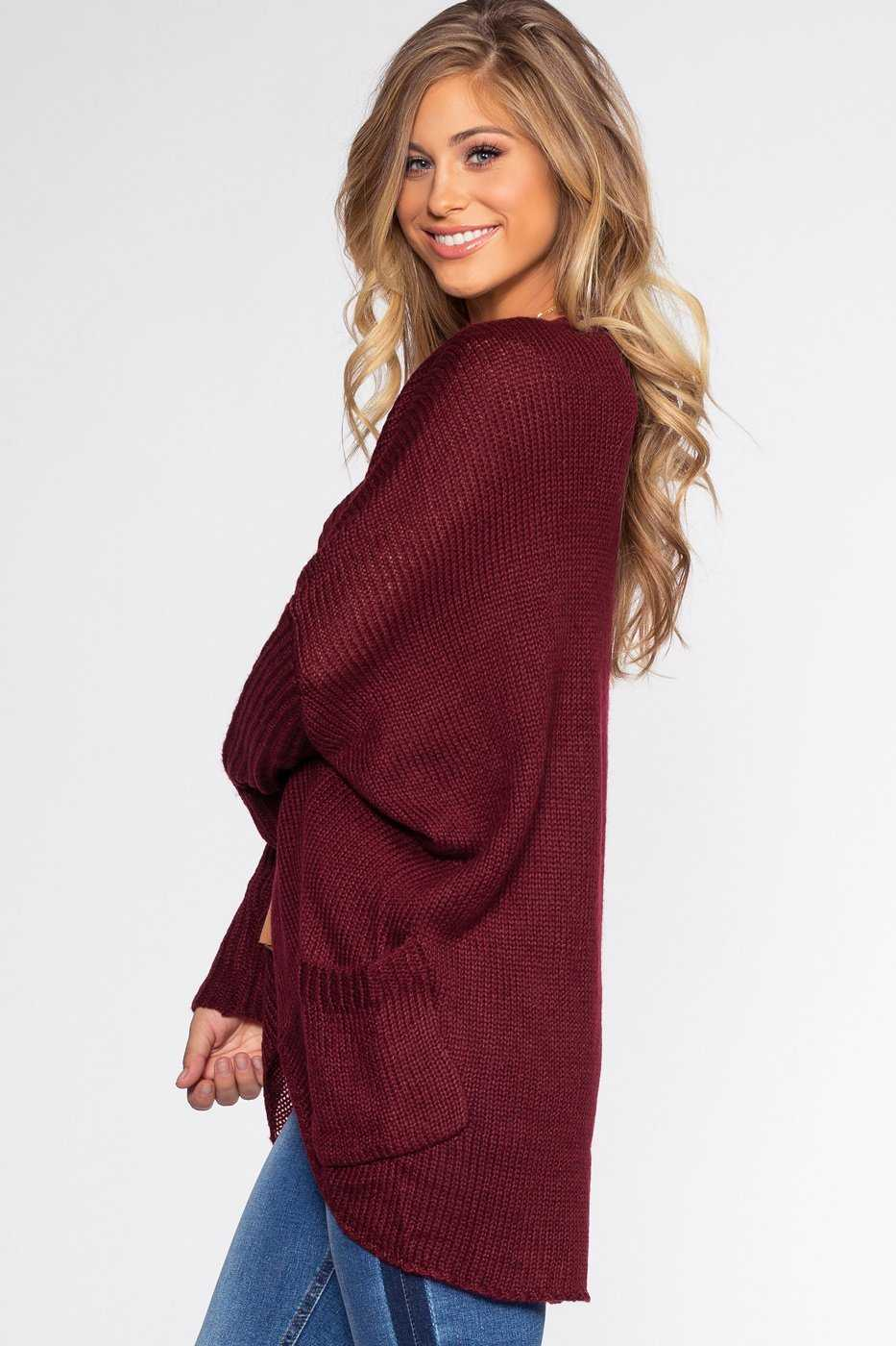 Cardigans - Sunset Vista Cardigan - Burgundy