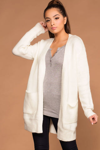 Cozy Cable Oversized Cardigan Sweater - Ivory
