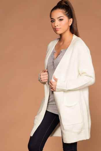 Cardigans - Warm And Fuzzy Ivory Cardigan