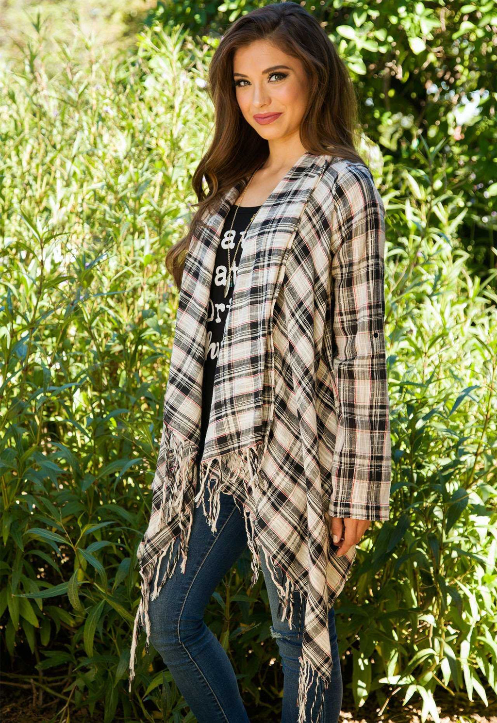 Cardigans - Young Blood Plaid Cardigan