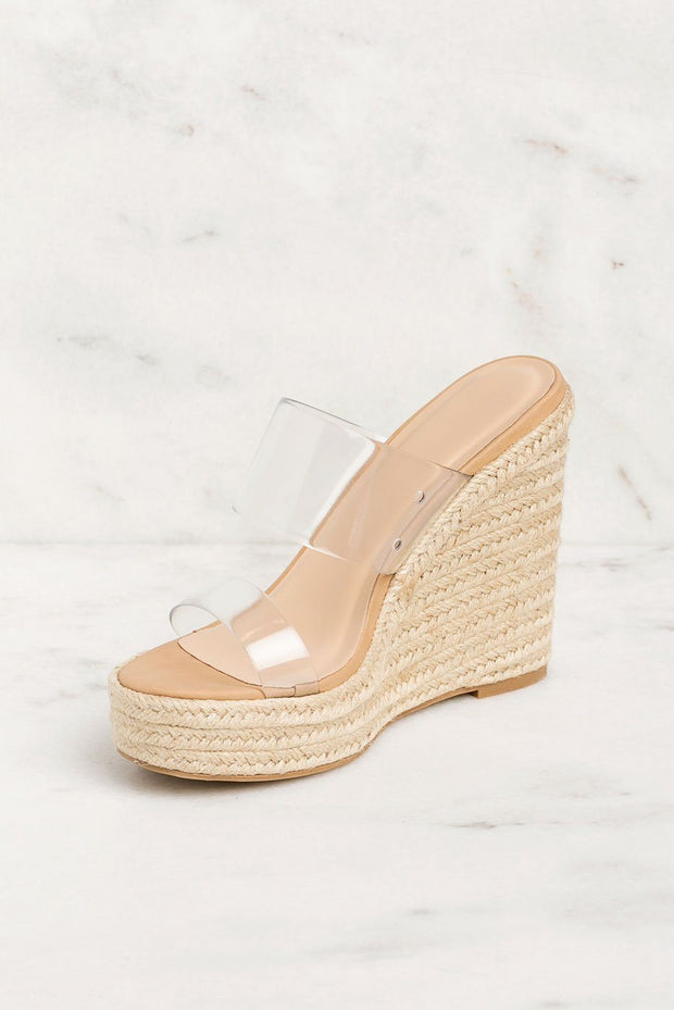 Clear Band Espadrille Wedges