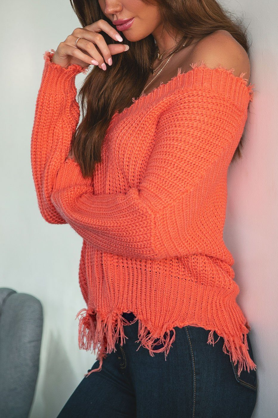 Coral Distressed Knit Sweater