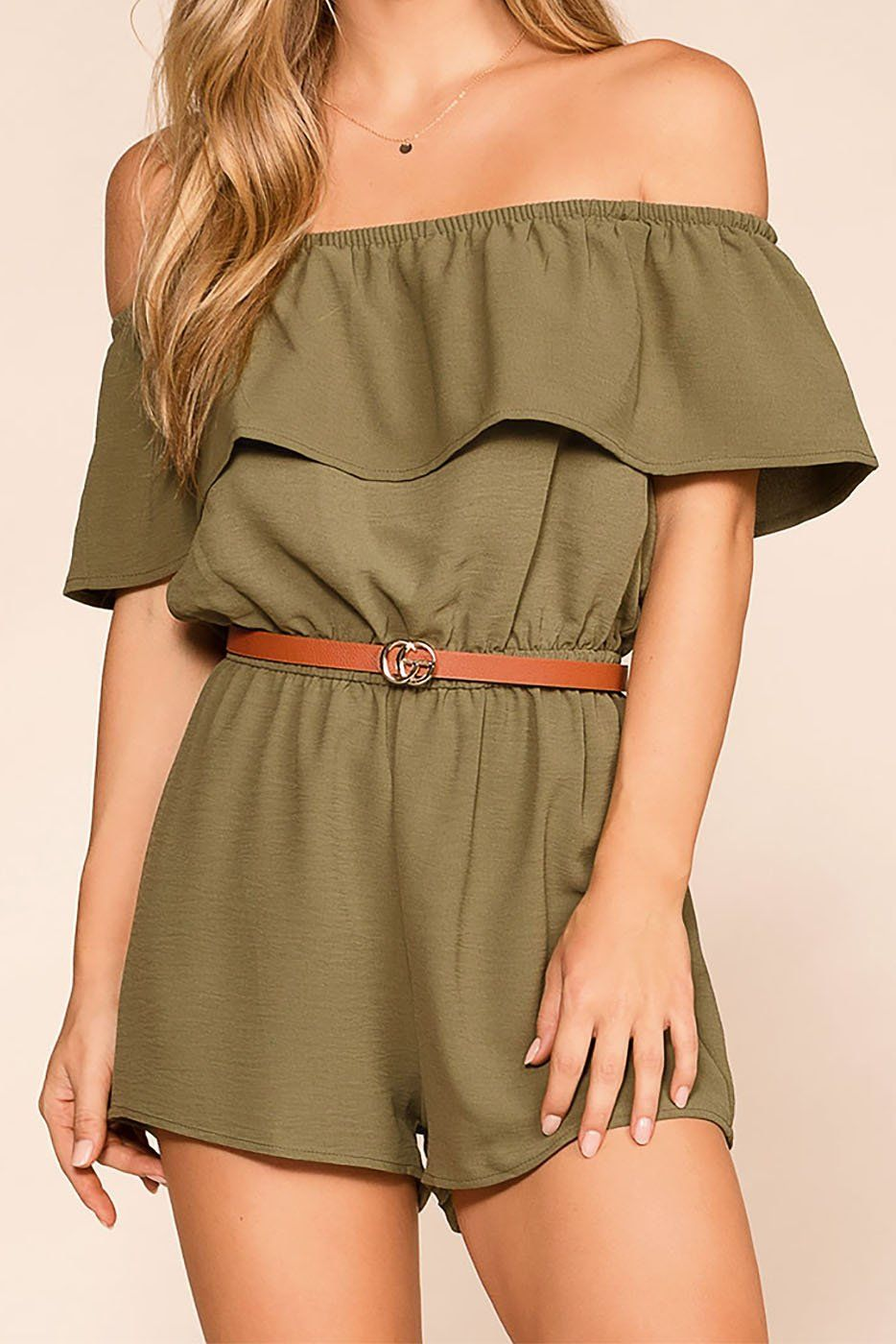 Dream Life Olive Off The Shoulder Romper
