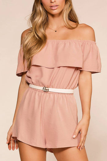 Dream Life Blush Off The Shoulder Romper