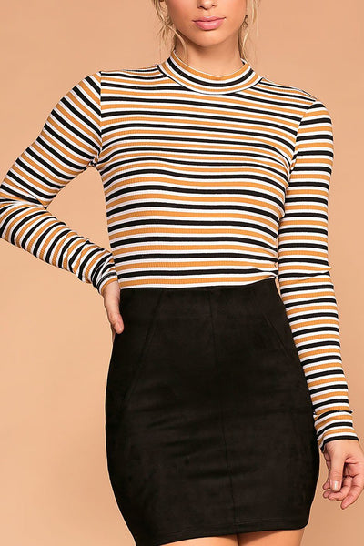 Dina White and Mustard Stripe Turtleneck Top