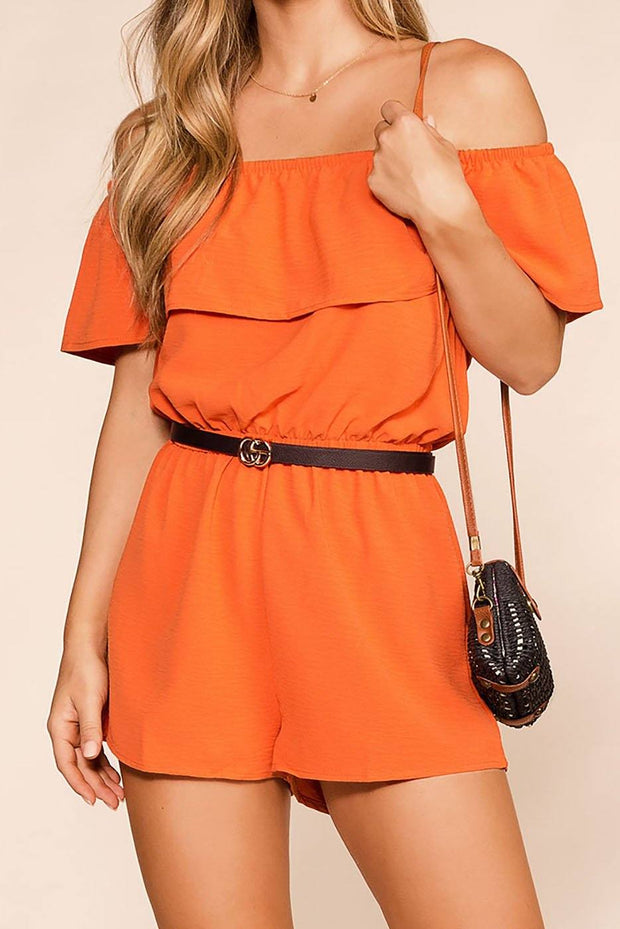 Dream Life Rust Off The Shoulder Romper