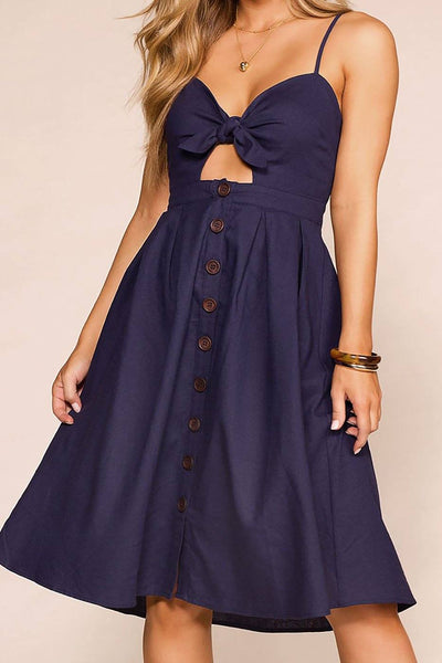 Escape Navy Buttoned Midi Dress