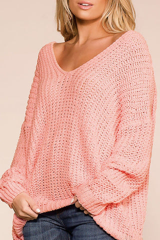 Feeling Good Pink Oversize Chenille Knit Sweater