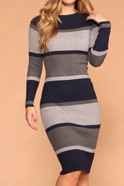 Valerie Navy Stripe Midi Bodycon Dress