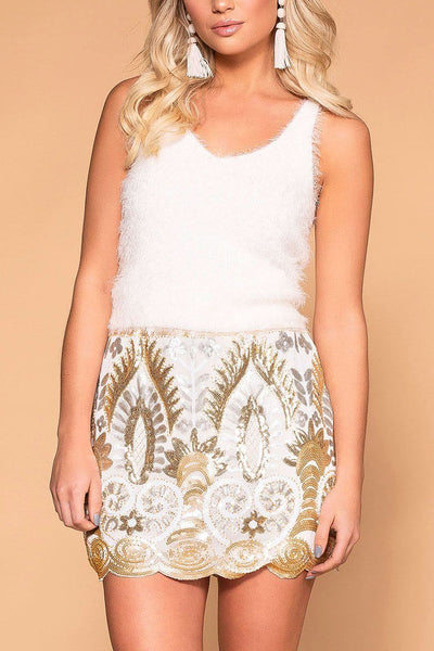 Nic White Sequin Pattern Skirt