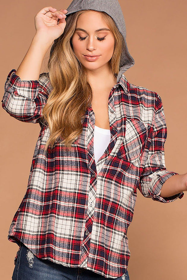 Cora Red Plaid Detachable Hoodie Top
