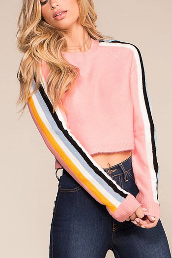 On A Roll Stripe Crop Top