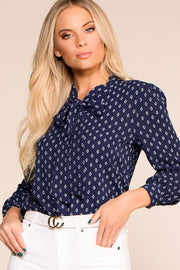 Astrid Navy Patterned Top | Mosaic & Co