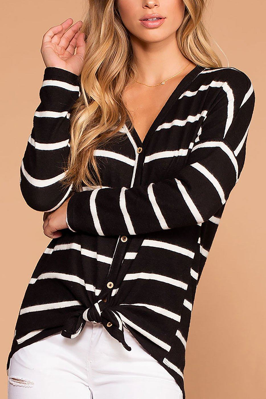 Colette Black And White Stripe Brushed Knit Tie-Front Sweater | White Birch