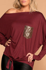 Heart Of Gold Burgundy Tie-Front Sequin Pocket Top