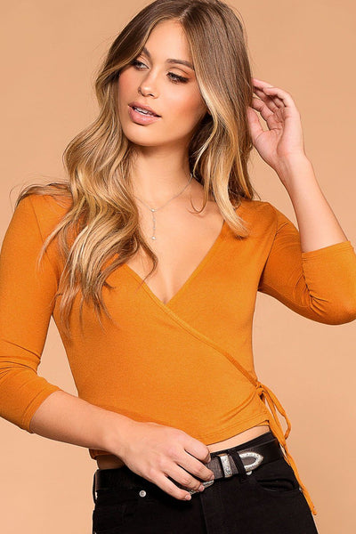 Iris Mustard Cross Over Tie Front Top | Iris