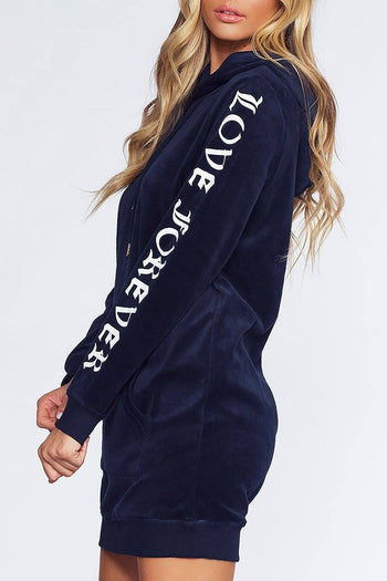 Love Forever Sweatshirt Dress - Navy | Love Tree