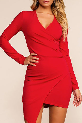 Spotlight Red Turtleneck Long Sleeve Bodycon Dress