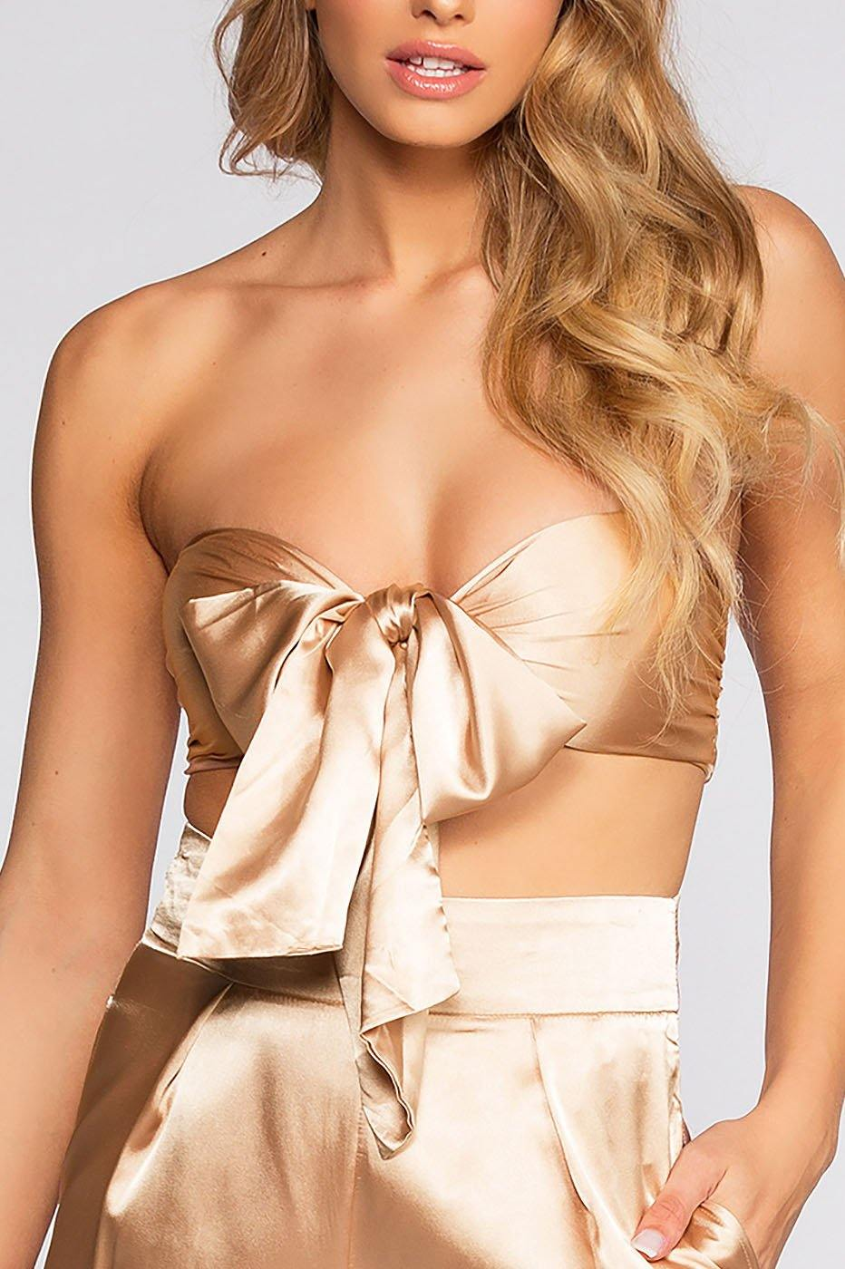 Pop The Bubbly Satin Crop Top - Champagne | lac bleu