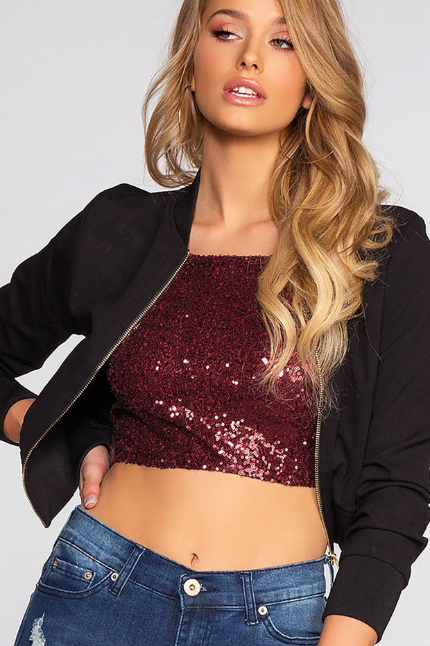 Under The Disco Ball Crop Top - Burgundy | Chocolate