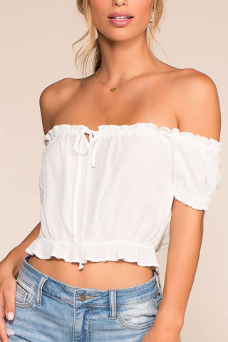 Sea Breeze Floral Off The Shoulder Crop Top