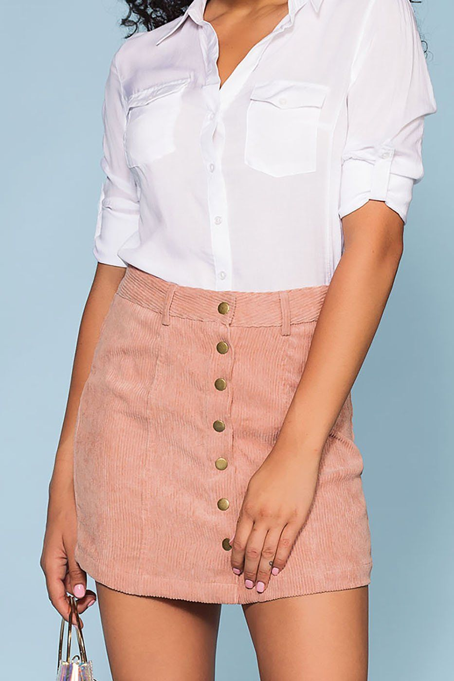 Sara Snap Front Corduroy Skirt - Blush | Trend Notes