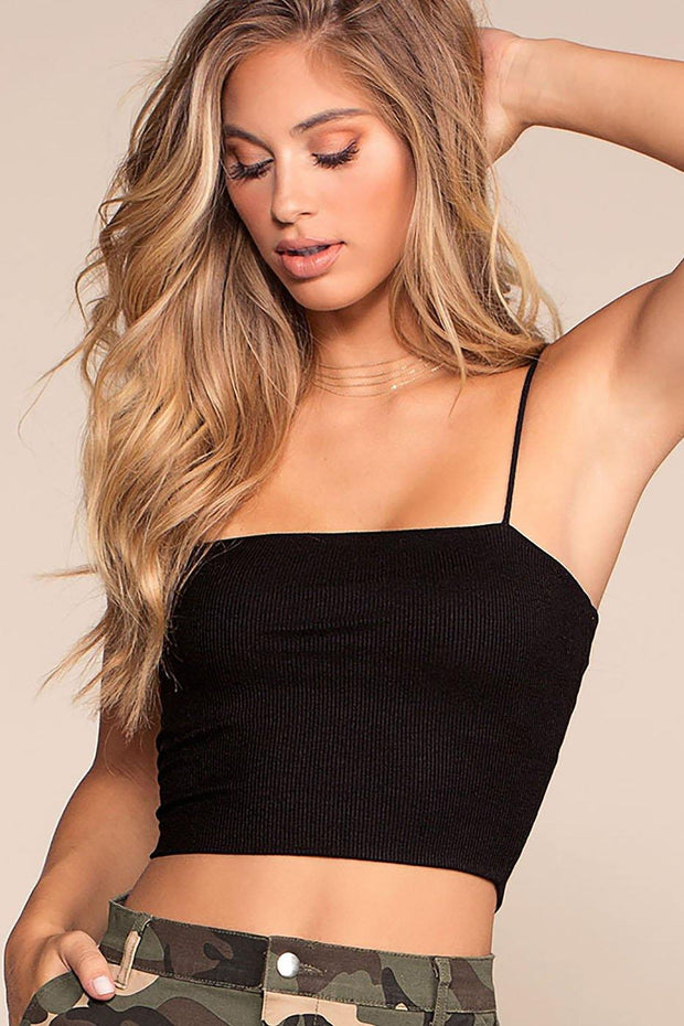 Jen Square Crop Top - Black | FAVEUR & MERCI
