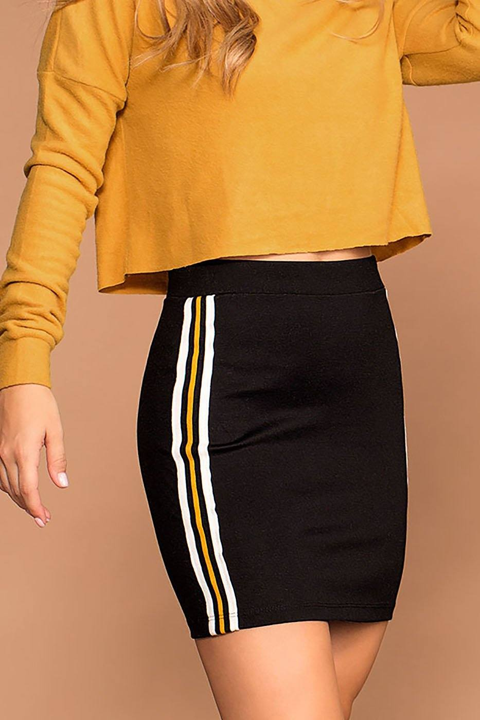 Indy Mustard Stripe Mini Skirt | Shop Priceless
