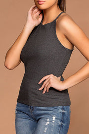Bethany Charcoal Ribbed Knit Tank Top | Ambiance