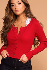Snap It Red Ribbed Long Sleeve Crop Top | Hearts & Hips