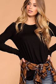 Krysha Black Round Neck Long Sleeve Top