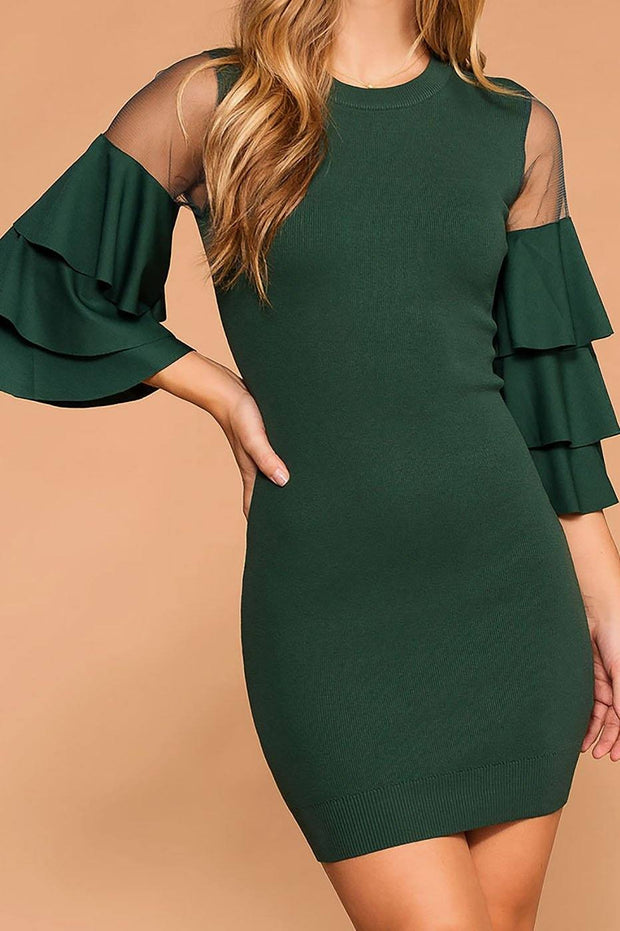 Enchanted Hunter Green Ruffle Sleeve Dress | Jealous Tomato