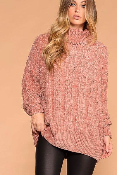Maureen Rose Chenille Knit Turtleneck Sweater | Zenana