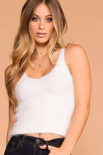 Luxe White Fuzzy Tank Top | Active Basic