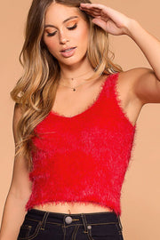 Luxe Red Fuzzy Tank Top | Active Basic