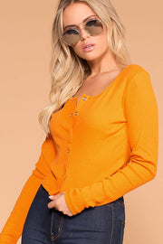 Snap It Amber Ribbed Long Sleeve Crop Top | Hearts & Hips