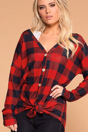 Mariel Red Plaid Tie-Front Top | Bibi