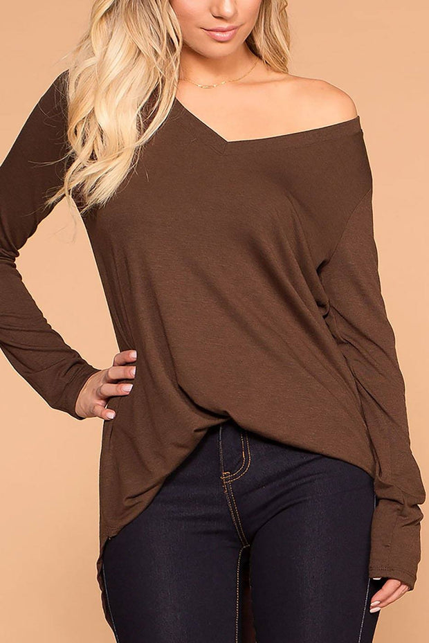 Missy Chocolate Long Sleeve V-Neck Top | Zenana