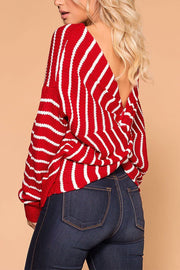 Carol Red Stripe Twist Back Sweater | Shop Priceless