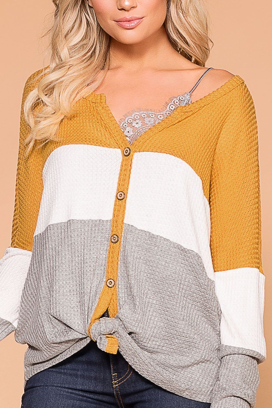Light Breeze Mustard, Ivory and Grey Color Block Waffle Knit Top | Shop Priceless
