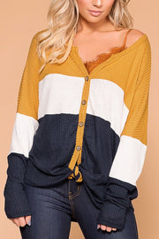 Light Breeze Mustard, Ivory and Navy Colorblock Waffle Knit Top | Shop Priceless