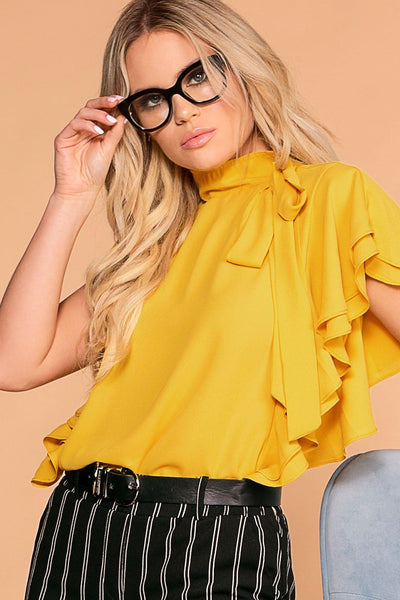 Make A Statement Mustard Ruffle Blouse | Toska