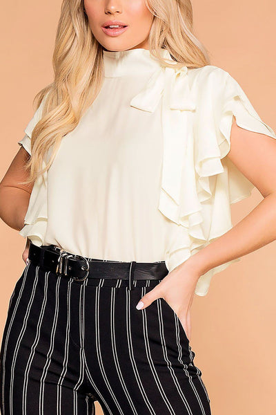 Make A Statement Ivory Ruffle Blouse | Toska