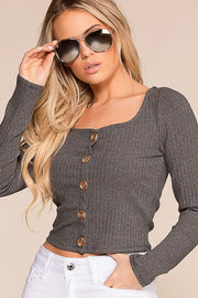 Optimistic Charcoal Button Long Sleeve Crop Top | Hearts & Hips