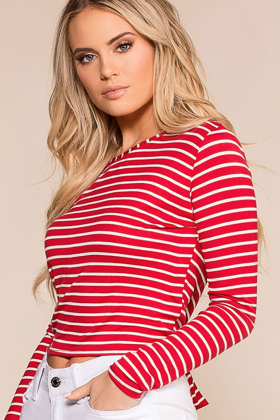 Penelope Red Stripe Open Back Crop Top | Rosegold