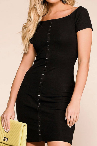 Get It Done Black Buttoned Bodycon Dress | Hearts & Hips